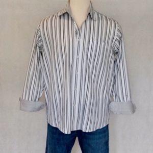Bugatchi Striped Long Sleeve Dress Shirt